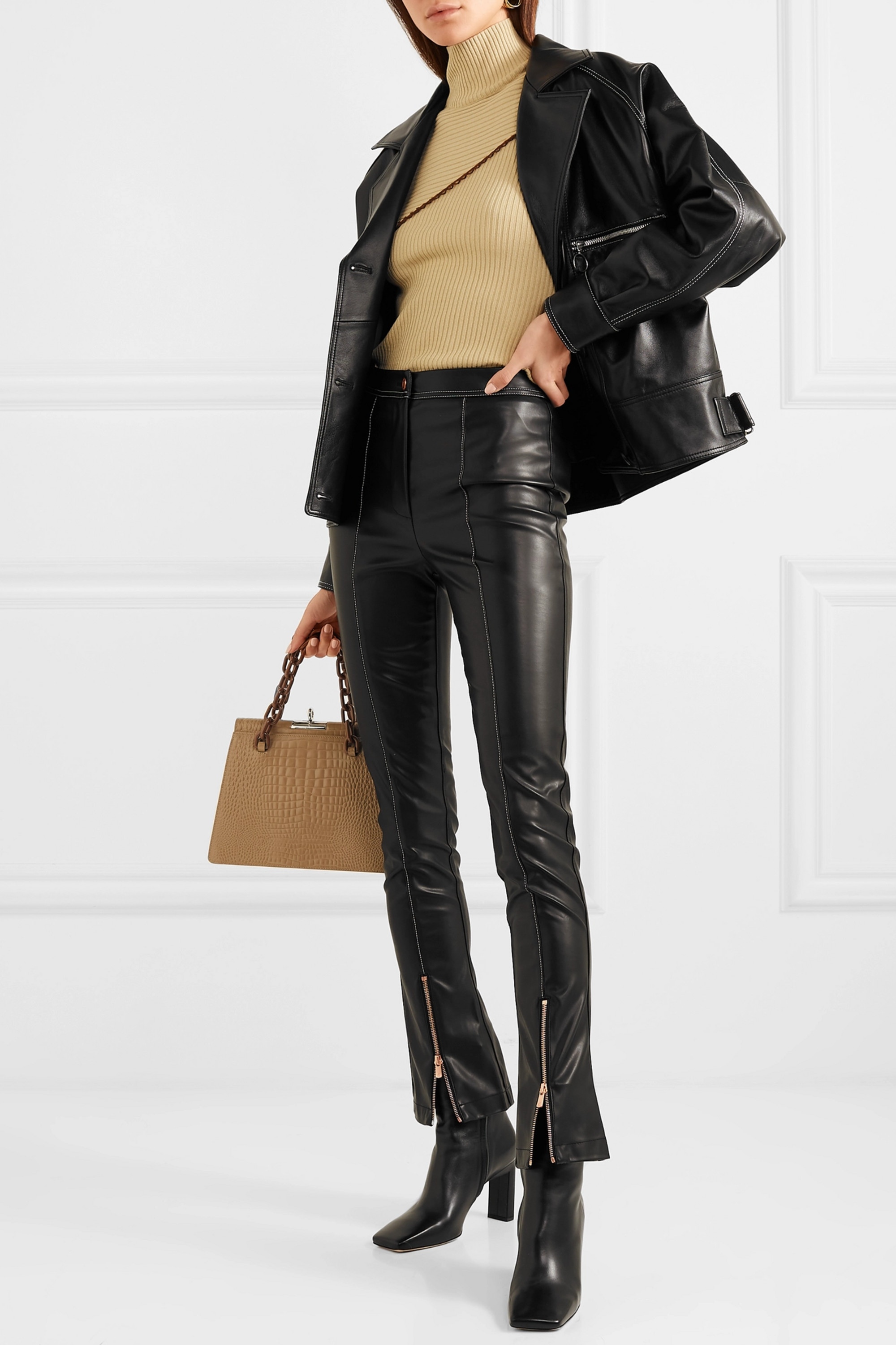 Black Faux leather flared pants