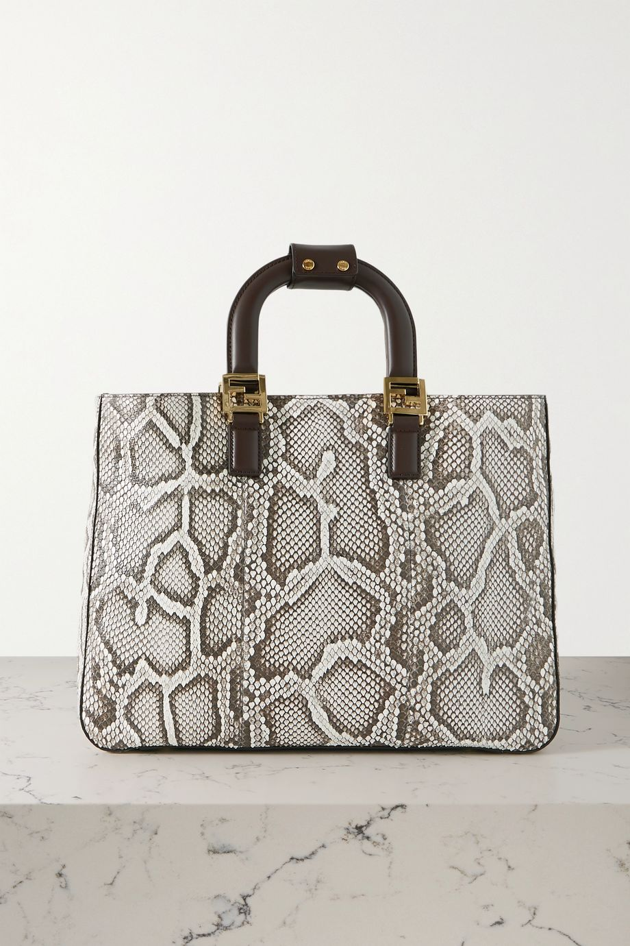 Fendi Leather-trimmed python tote