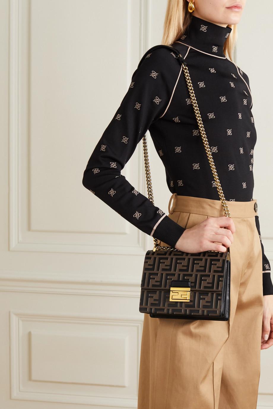 Fendi Kan U small embossed leather shoulder bag