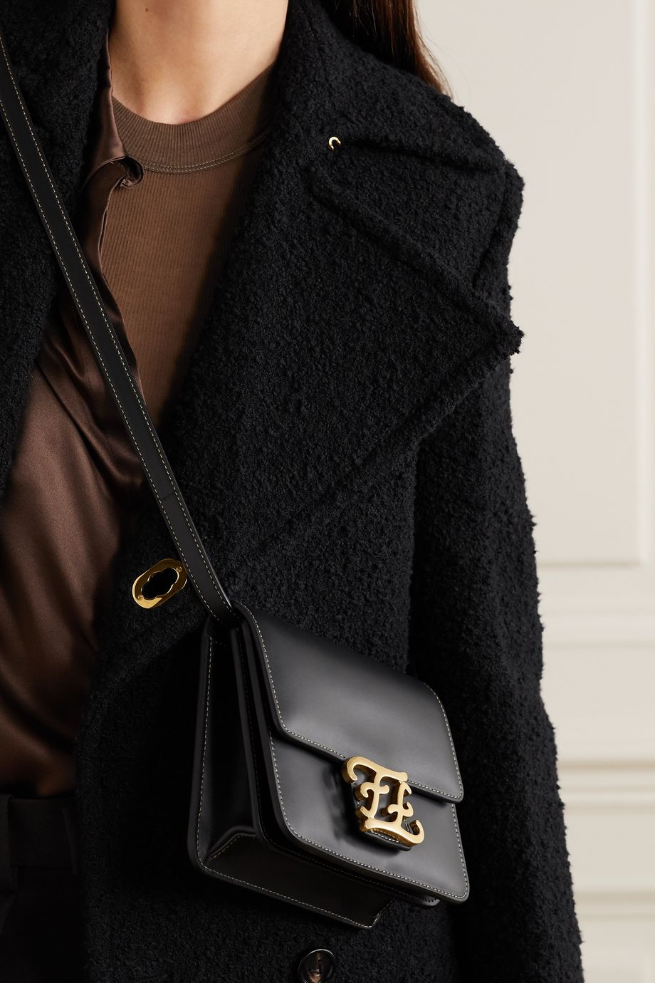 Fendi Karligraphy leather shoulder bag