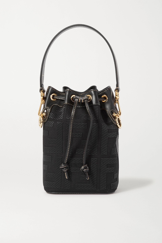 Fendi Mon Trésor mini leather-trimmed canvas bucket bag