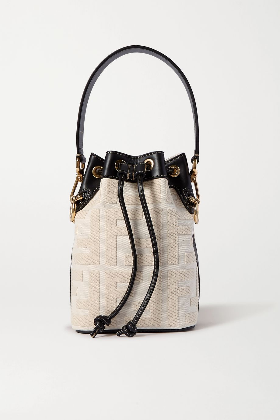 Fendi Mon Trésor mini leather-trimmed canvas bucket bag
