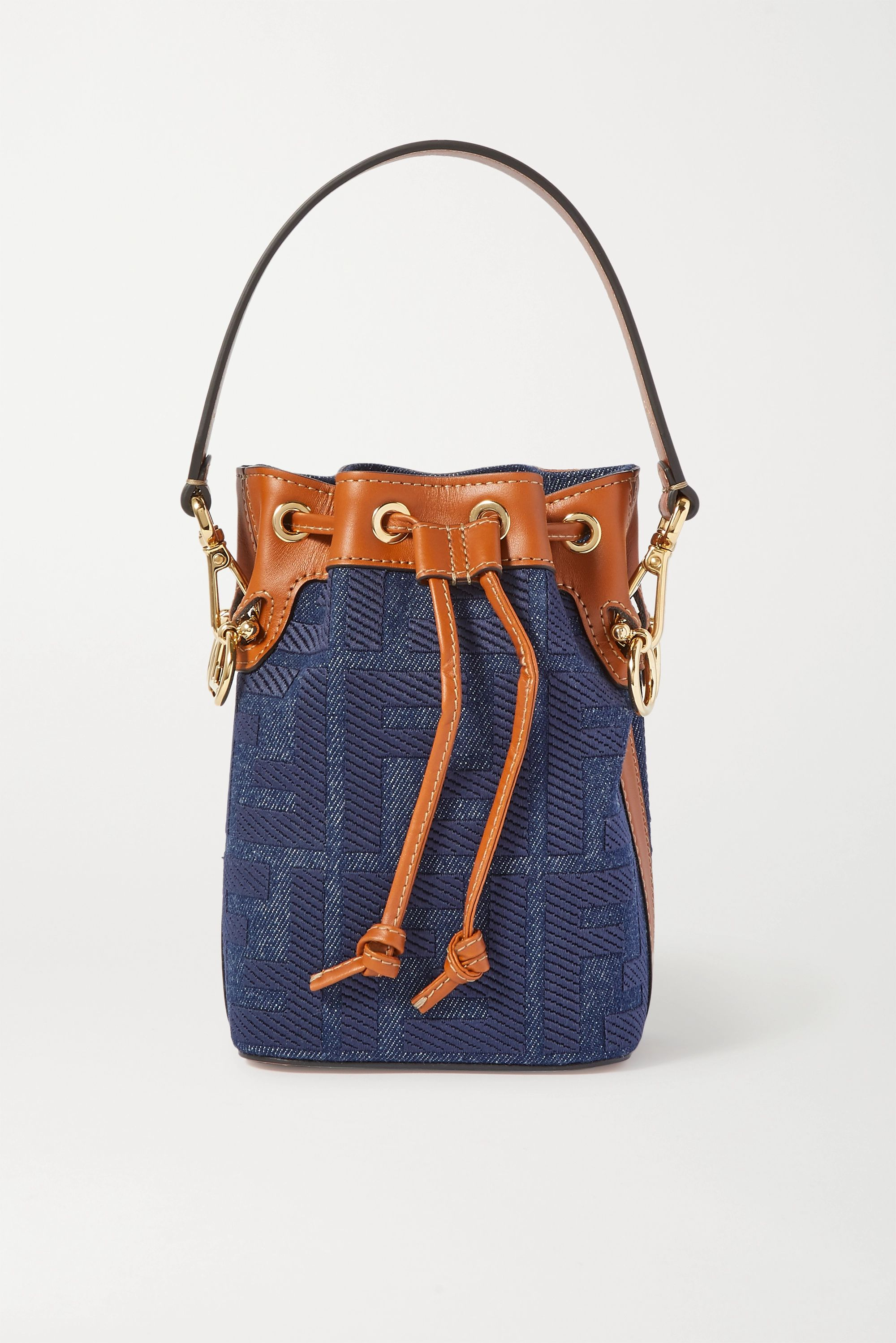 Fendi Mon Trésor mini leather-trimmed denim bucket bag