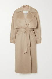 Convertible belted camel hair and cashmere-blend coat