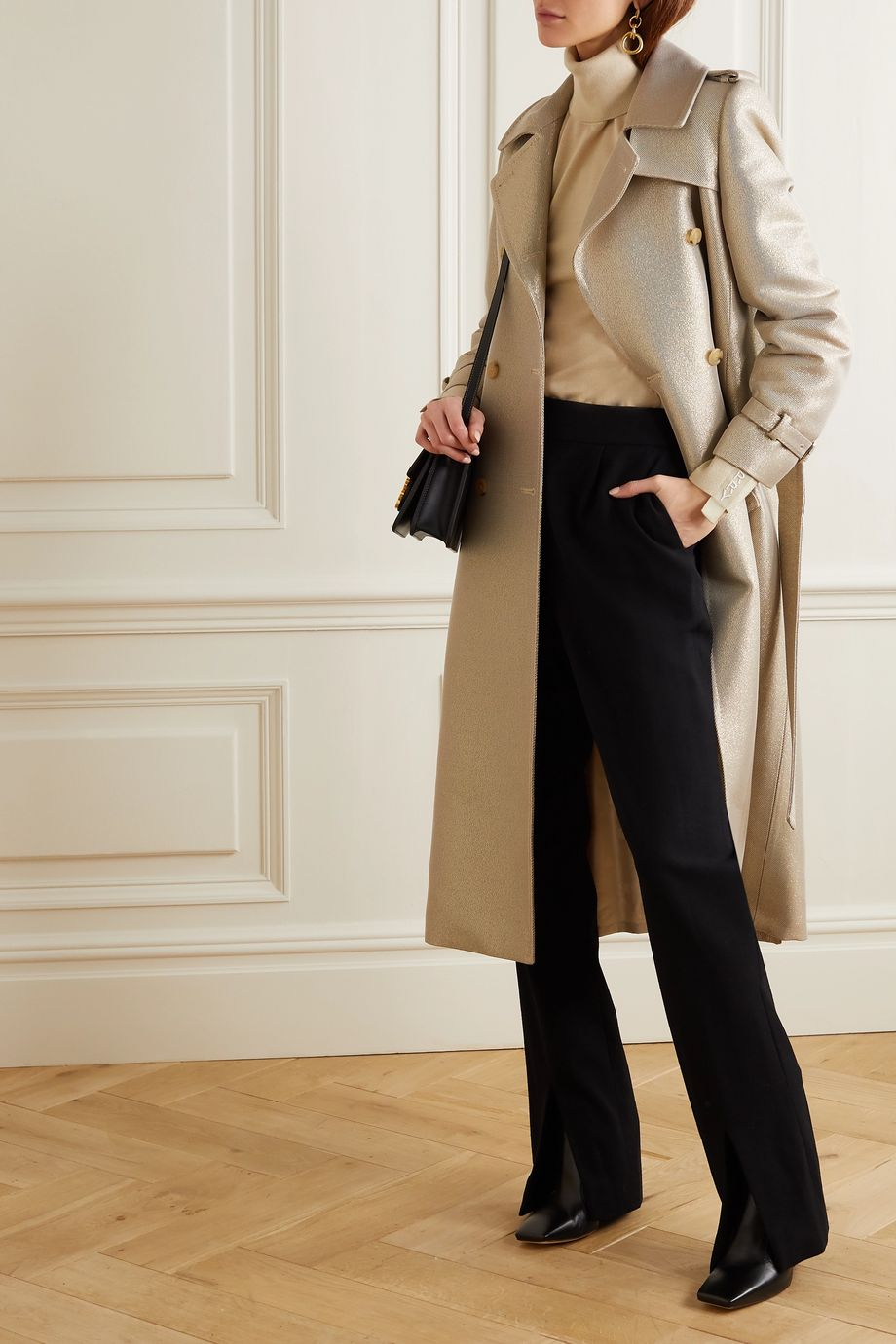 Max Mara Metallic wool-blend twill trench coat