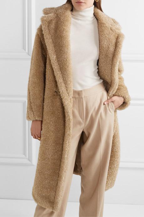 Teddy Icon metallic faux fur coat
