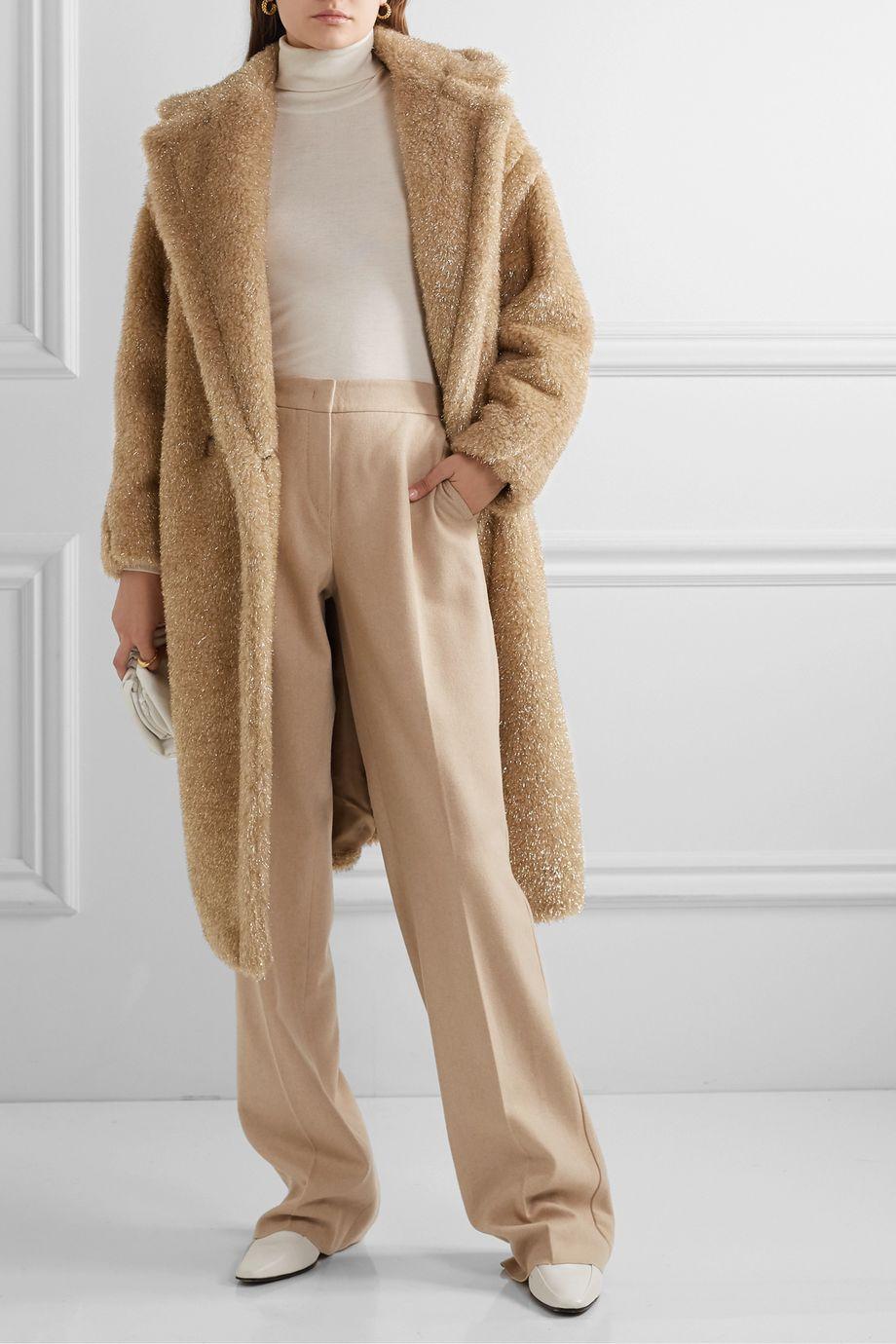 Max Mara Teddy Icon metallic faux fur coat