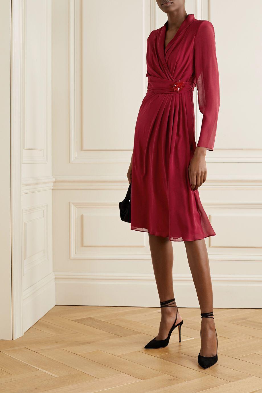 Max Mara Galizia wrap-effect embellished draped silk-georgette dress