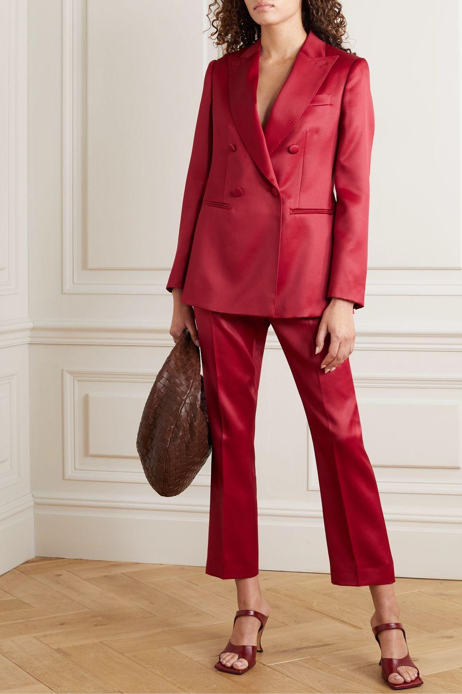 Max Mara Renza double-breasted wool and silk-blend satin blazer
