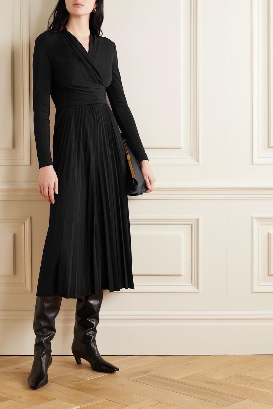 Max Mara Vieste wrap-effect pleated crepe jumpsuit