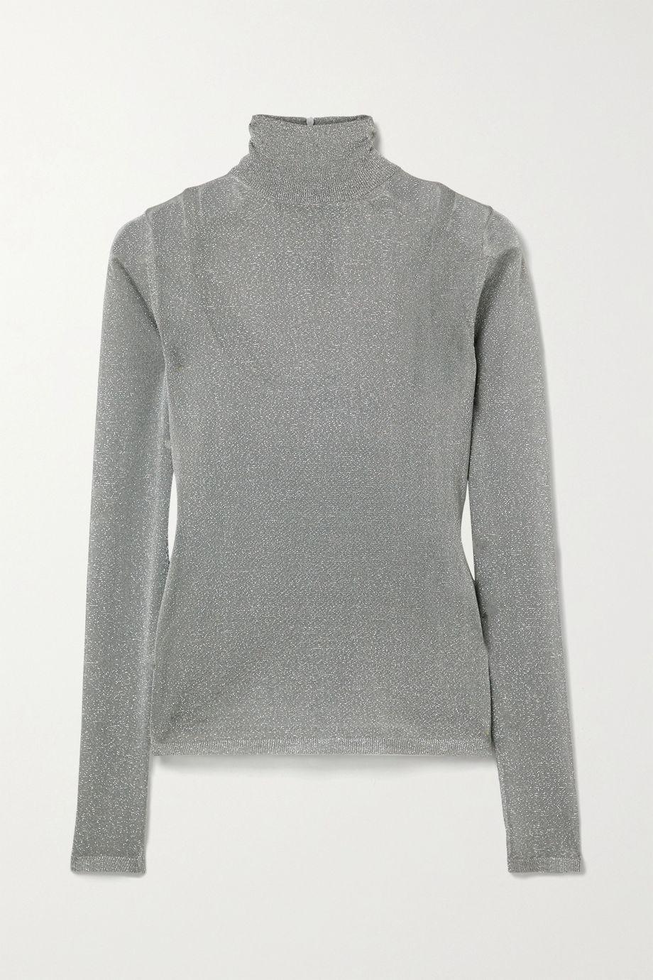 Max Mara Pietra metallic stretch-knit turtleneck sweater