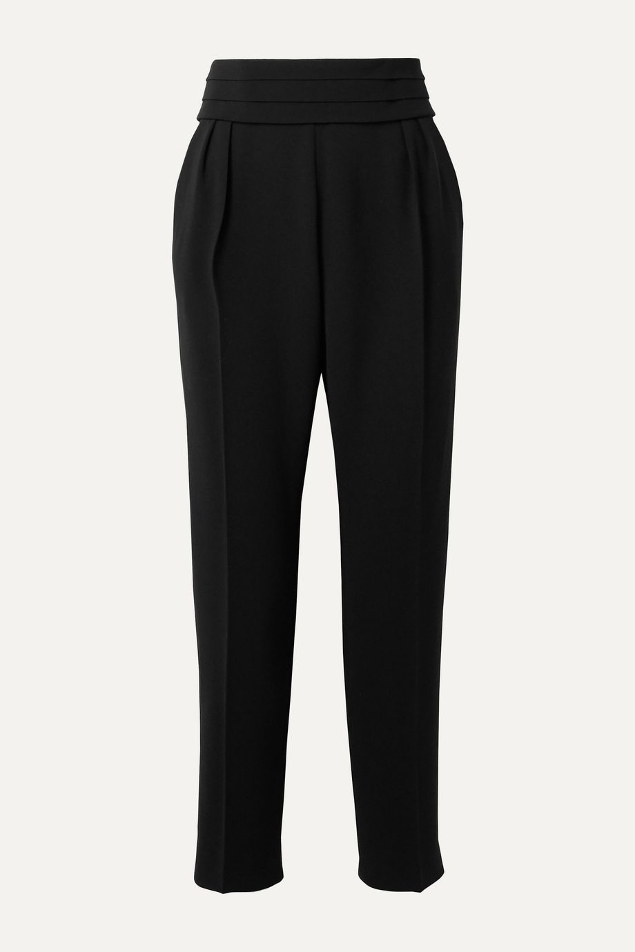 Max Mara Anagni belted pleated crepe tapered pants