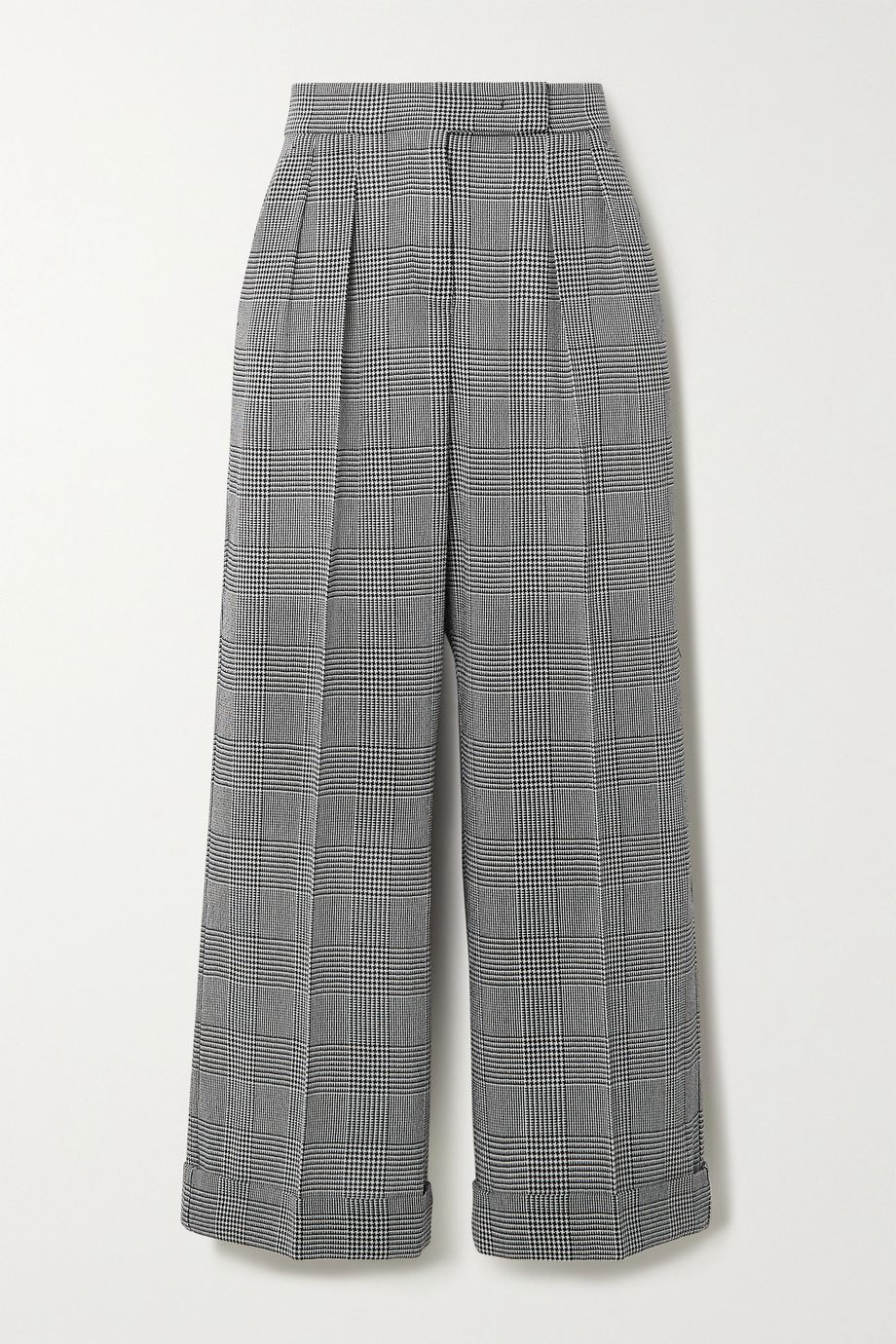 Max Mara Erice cropped Prince of Wales checked wool wide-leg pants