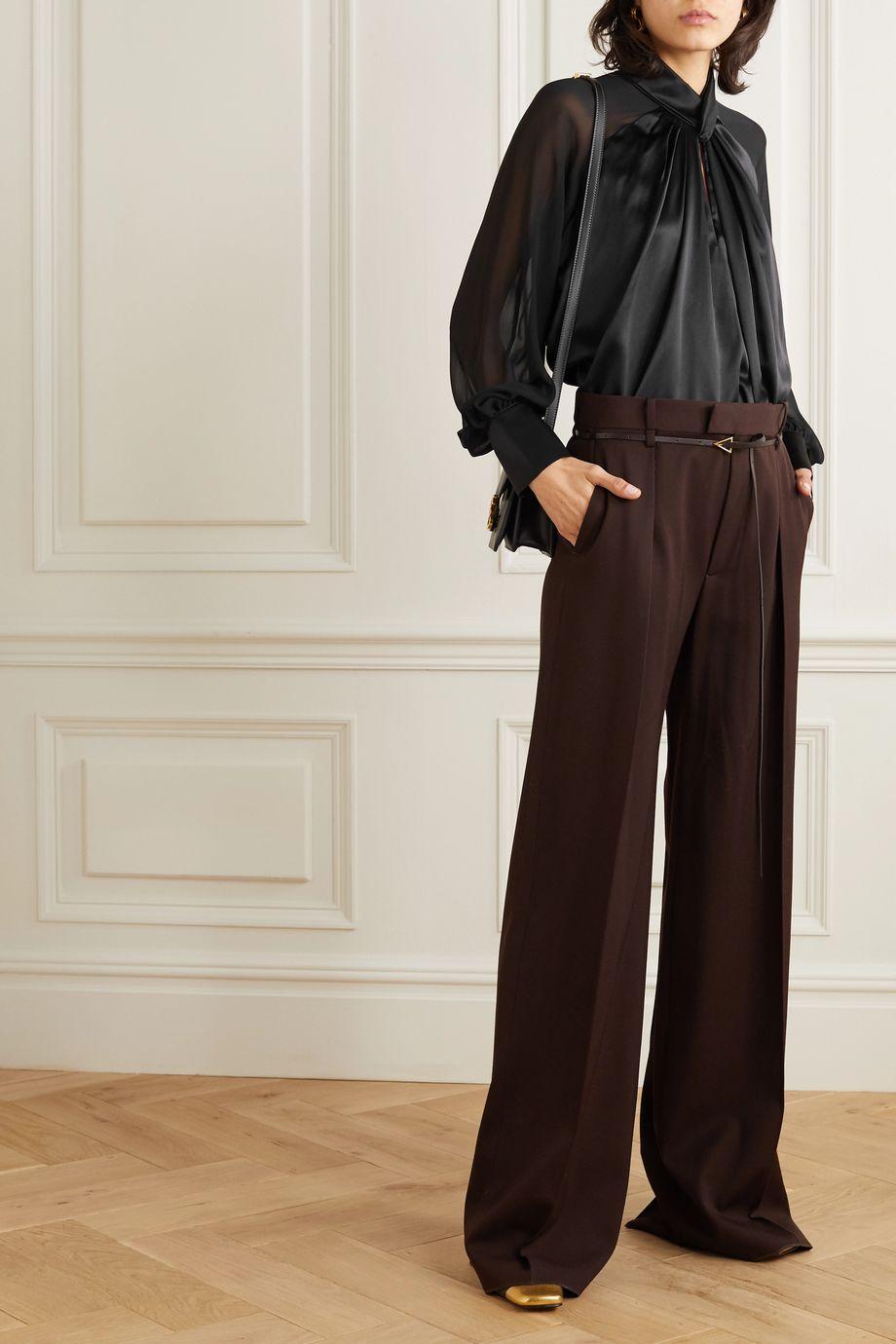 Max Mara Enna knotted silk-satin and chiffon blouse