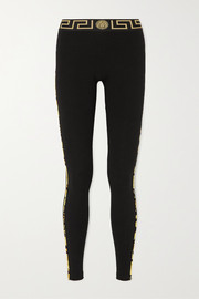 Versace Jacquard-trimmed stretch-cotton leggings
