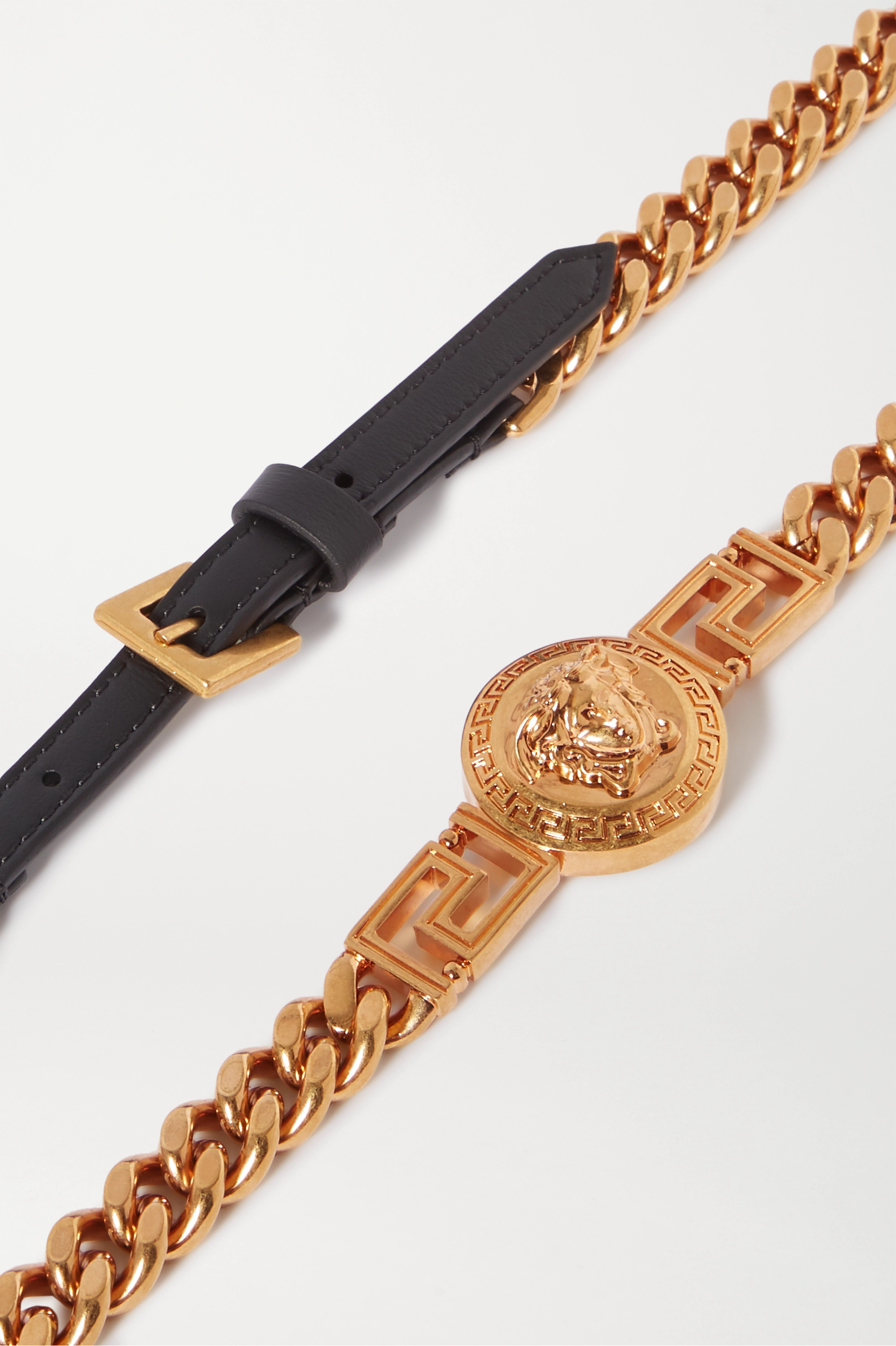 Versace Gold-tone and leather belt