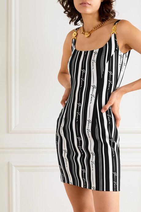 Embellished striped crepe mini dress