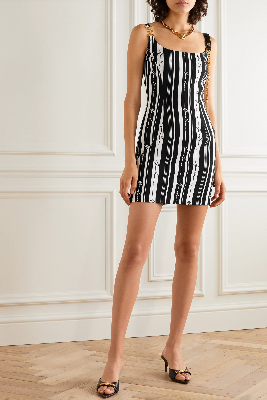 Versace Embellished striped crepe mini dress