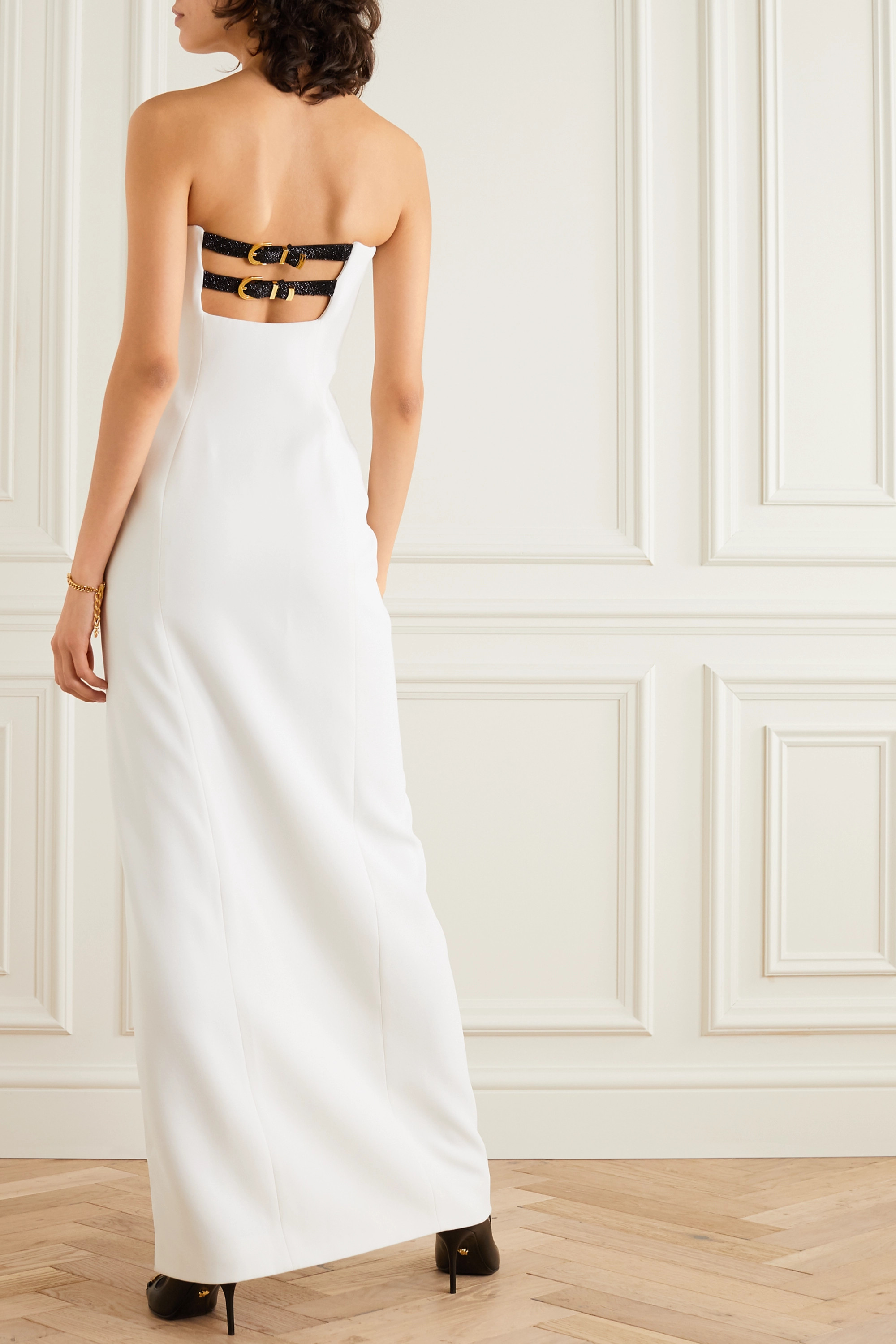 Versace Strapless embellished buckled silk-cady gown