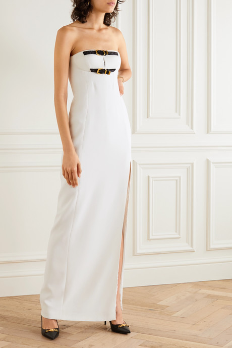 Strapless embellished buckled silk-cady gown