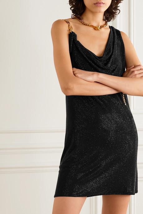 Asymmetric embellished stretch-jersey mini dress