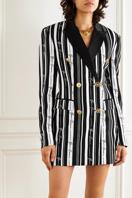 Double-breasted striped crepe mini dress