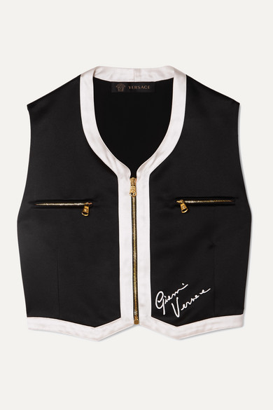 Cropped Embroidered Satin Vest by Versace