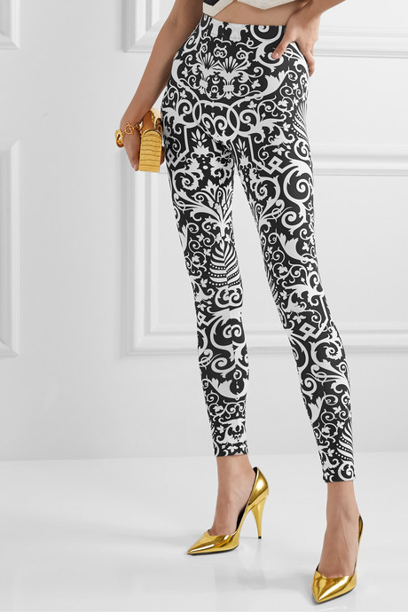 Printed stretch-jersey leggings