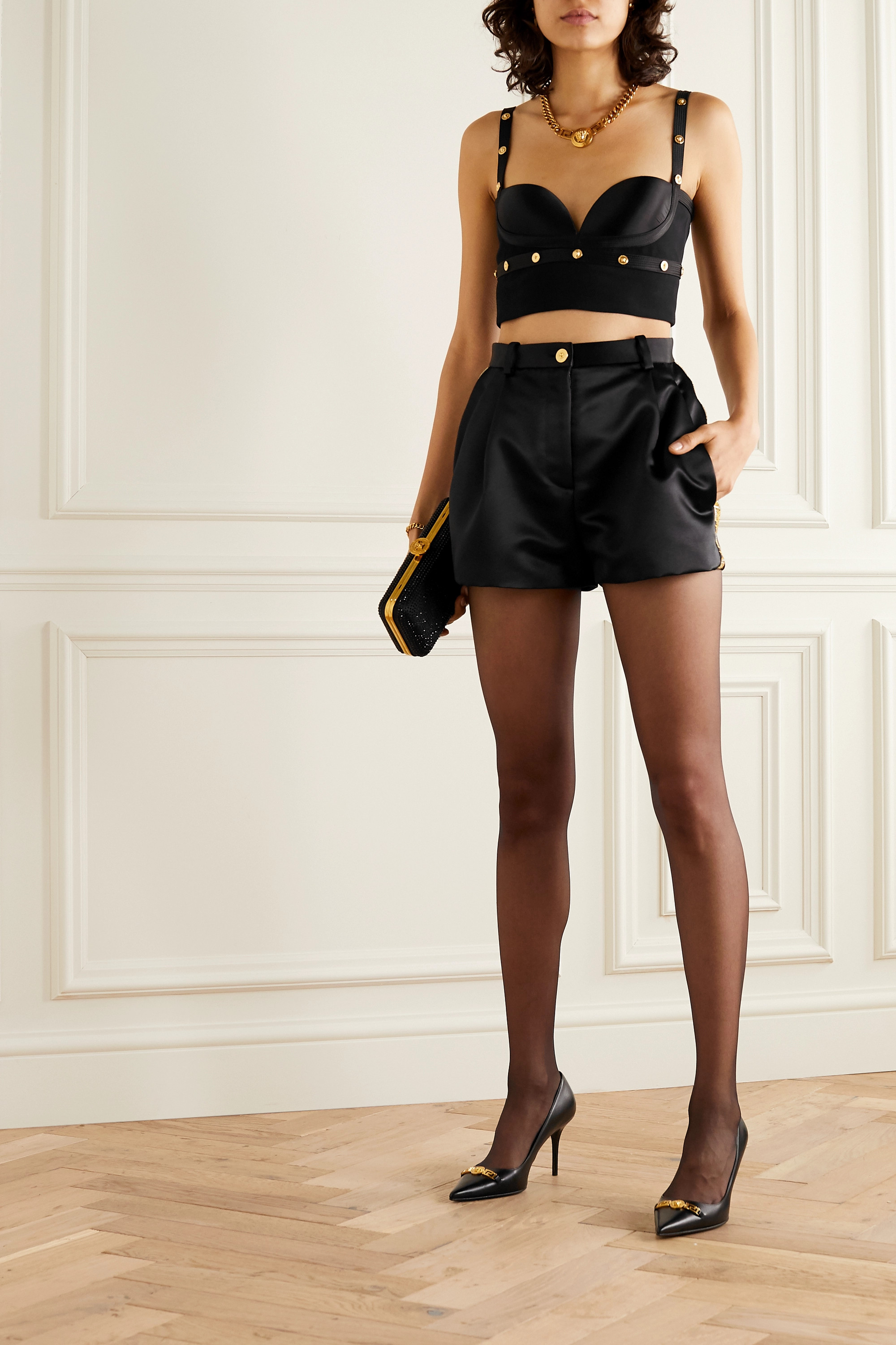 Versace Crystal-embellished embroidered duchesse-satin shorts