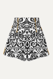 Embroidered printed cotton-blend twill shorts