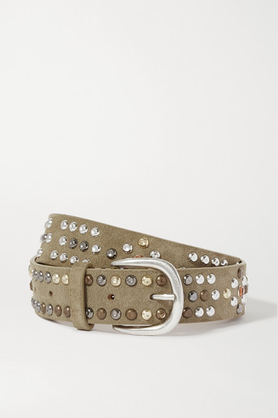 Isabel Marant Devis Studded Suede Belt In Army Green