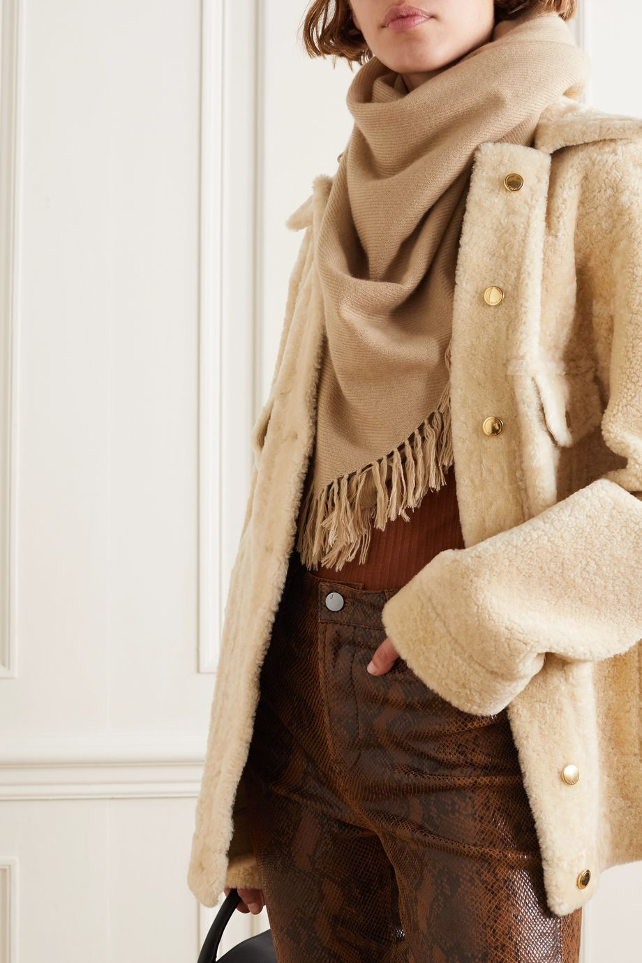 Isabel Marant Zila fringed cashmere and wool-blend scarf