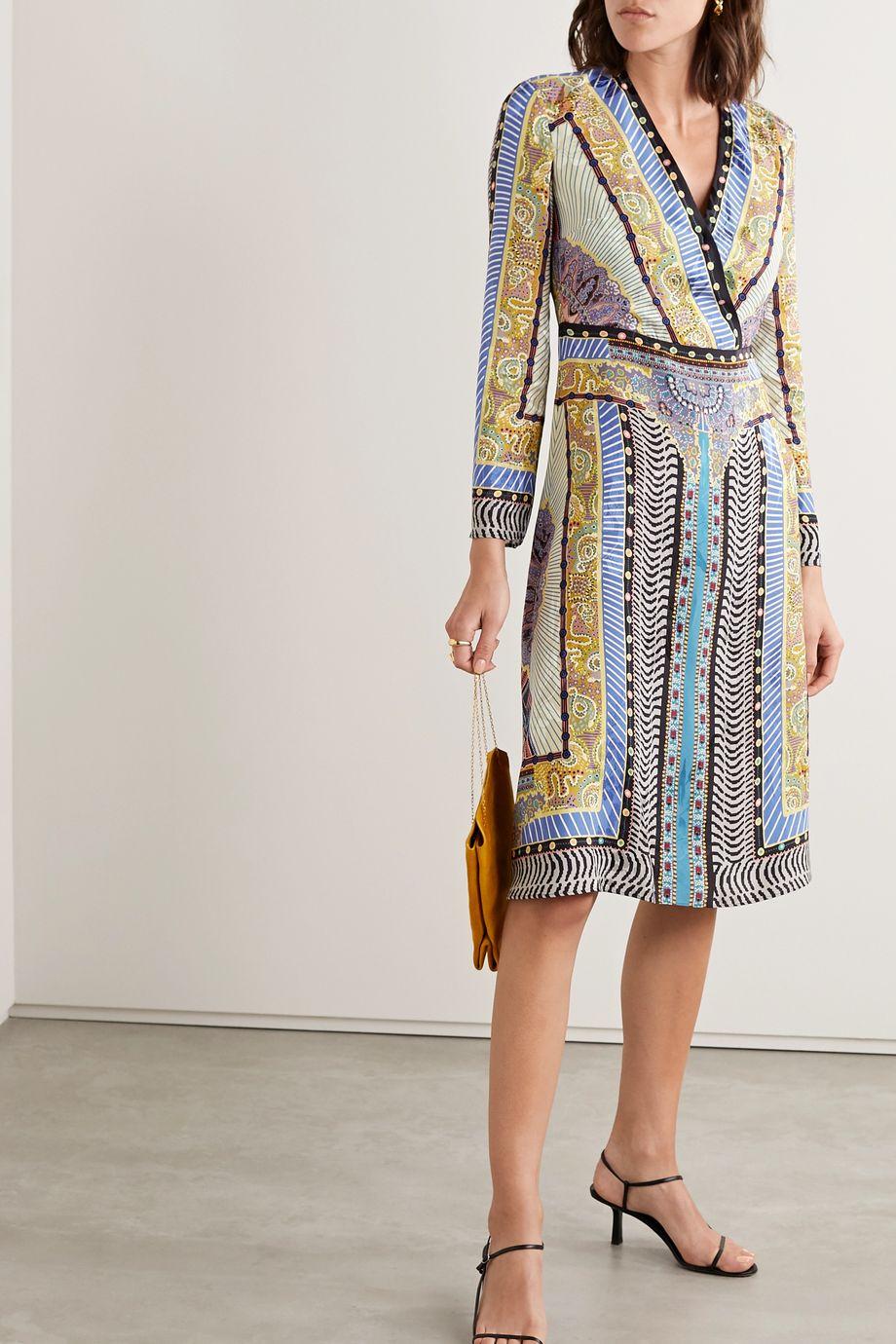 Etro Wrap-effect printed satin-jacquard midi dress