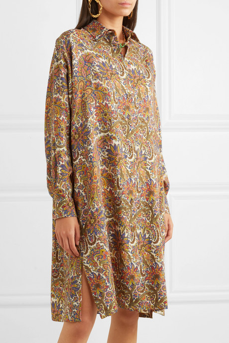 Paisley-print wool and silk-blend dress