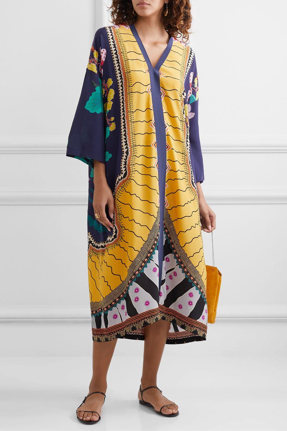 Etro Oversized printed silk crepe de chine kaftan