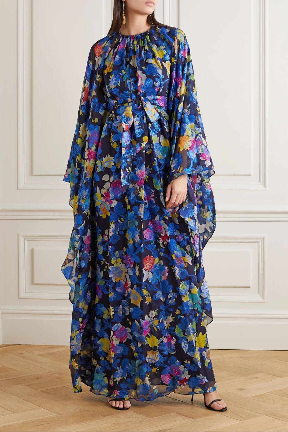 Etro Belted printed metallic silk-blend jacquard gown