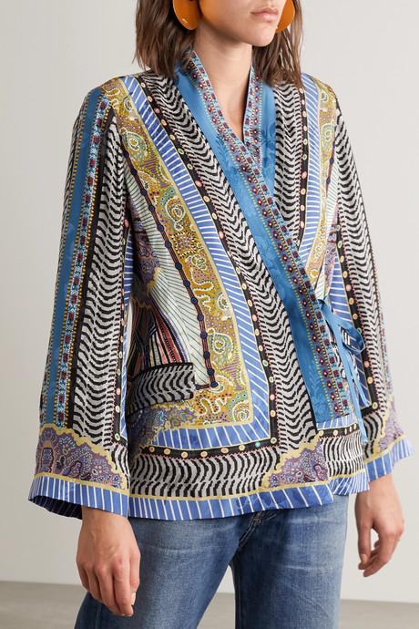 Printed satin-jacquard wrap top