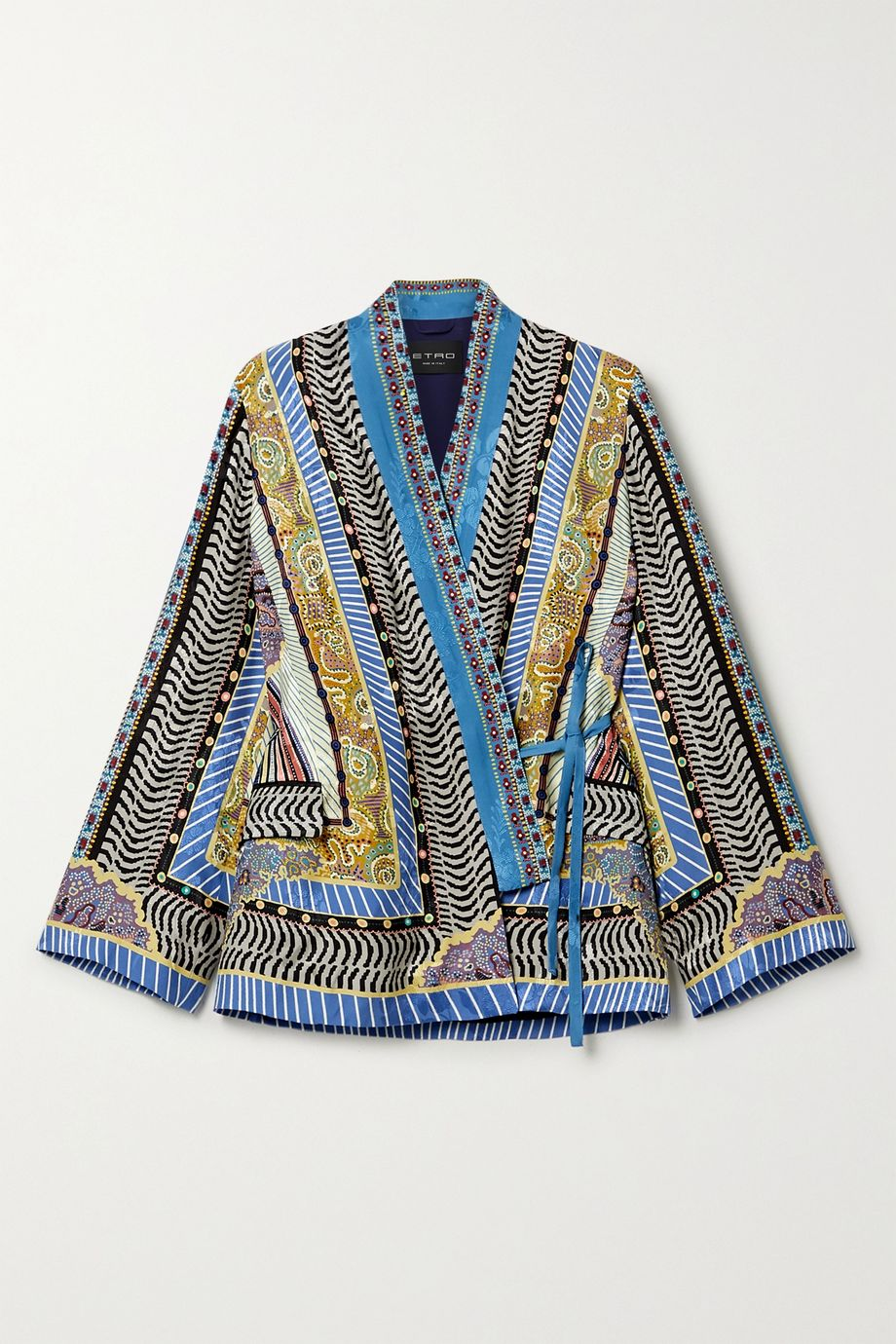 Etro Printed satin-jacquard wrap top