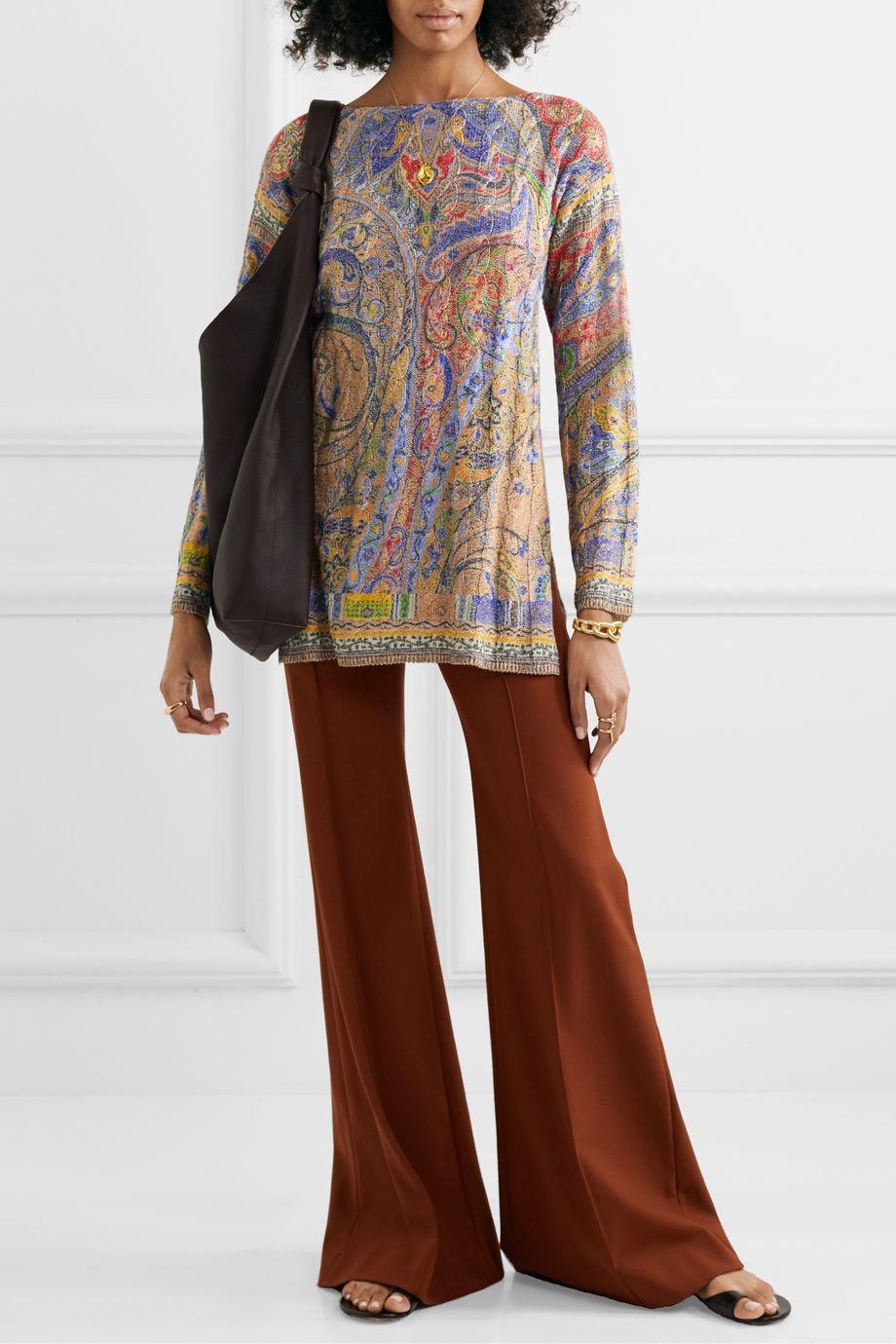 Etro Metallic paisley-print cable-knit sweater