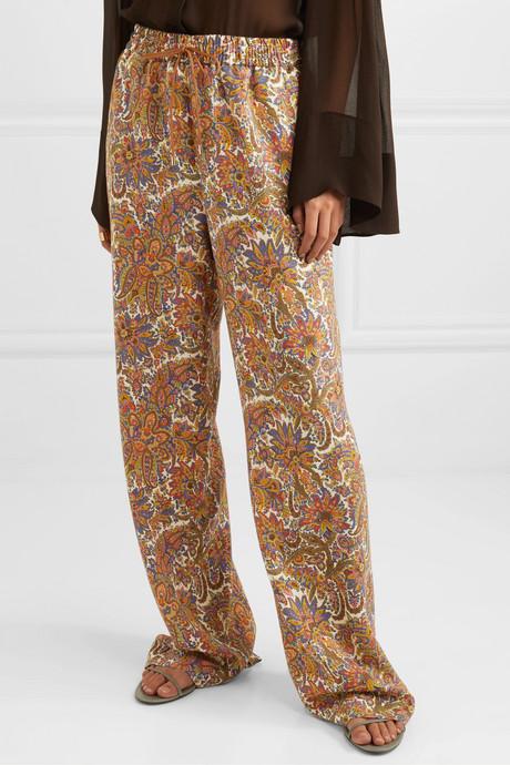 Paisley-print wool and silk-blend straight-leg pants