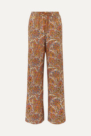 Paisley-print wool and silk-blend straight-leg pants