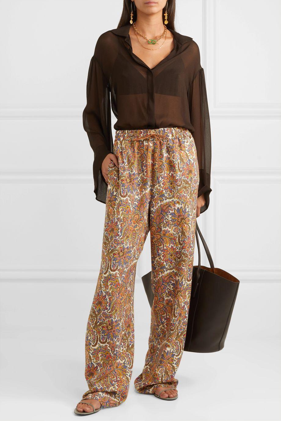 Etro Paisley-print wool and silk-blend straight-leg pants