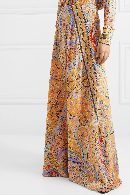 Etro 佩斯利印花真丝双绉超长半身裙