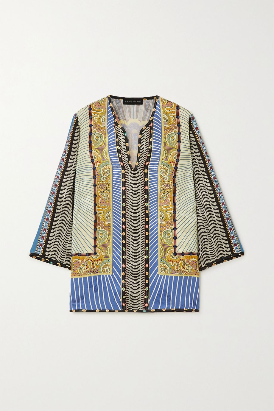 Etro Printed floral-jacquard blouse