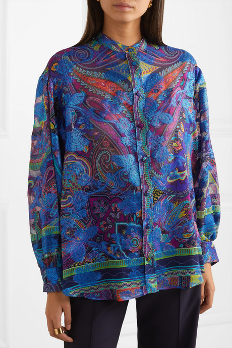 Paisley-print fil coupé silk-blend georgette blouse
