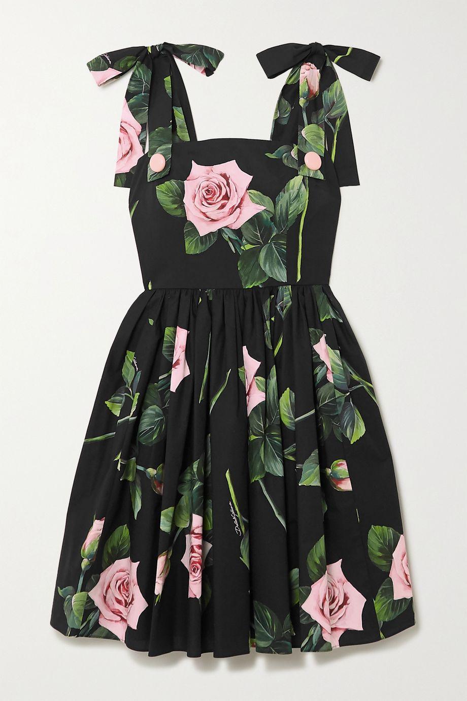 Dolce & Gabbana Tie-detailed floral-print cotton-poplin dress