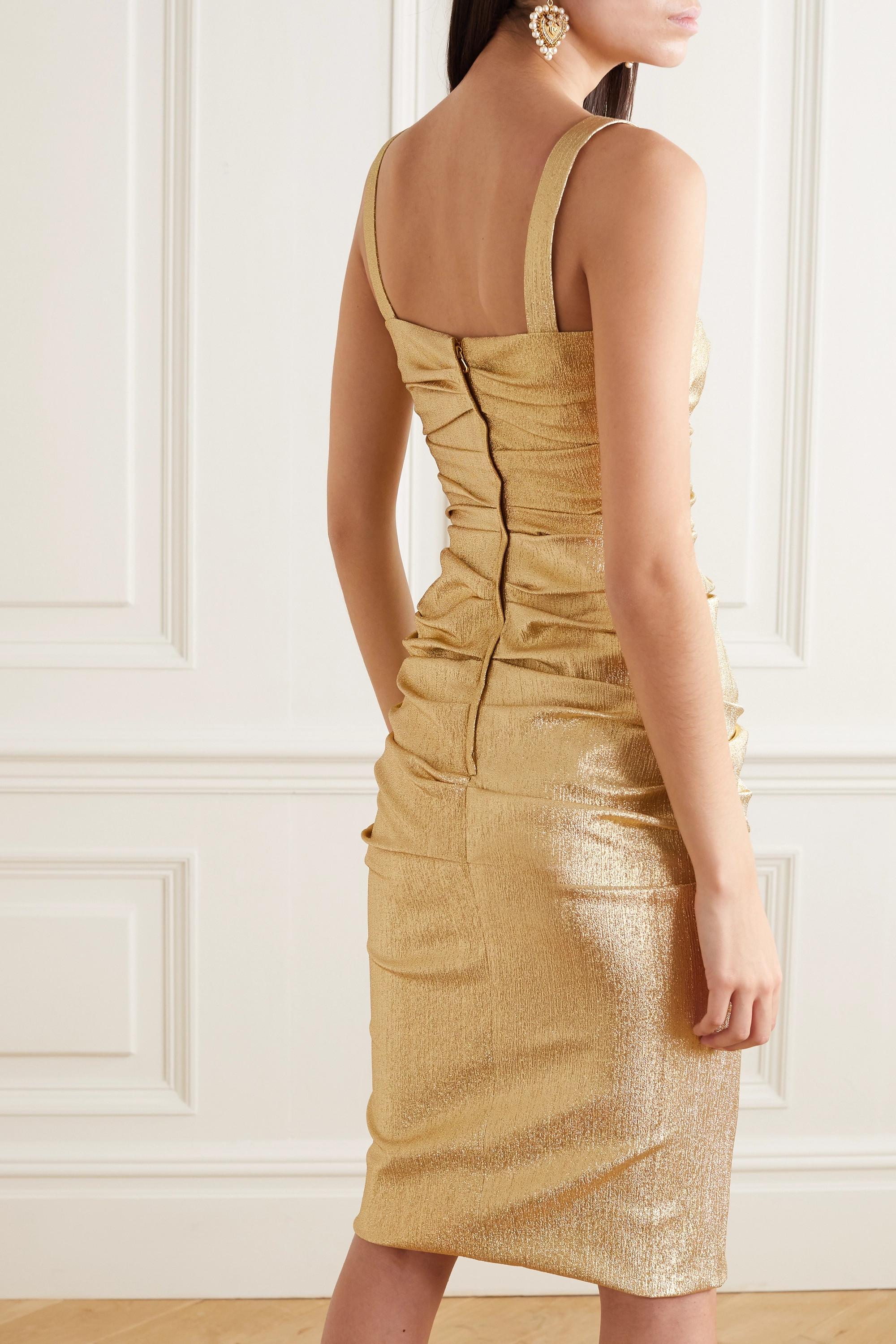 Dolce & Gabbana Ruched silk-blend lamé dress