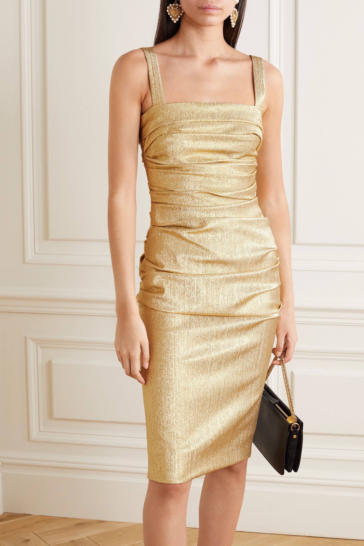 Dolce & Gabbana Robe froncée en lamé de soie mélangée
