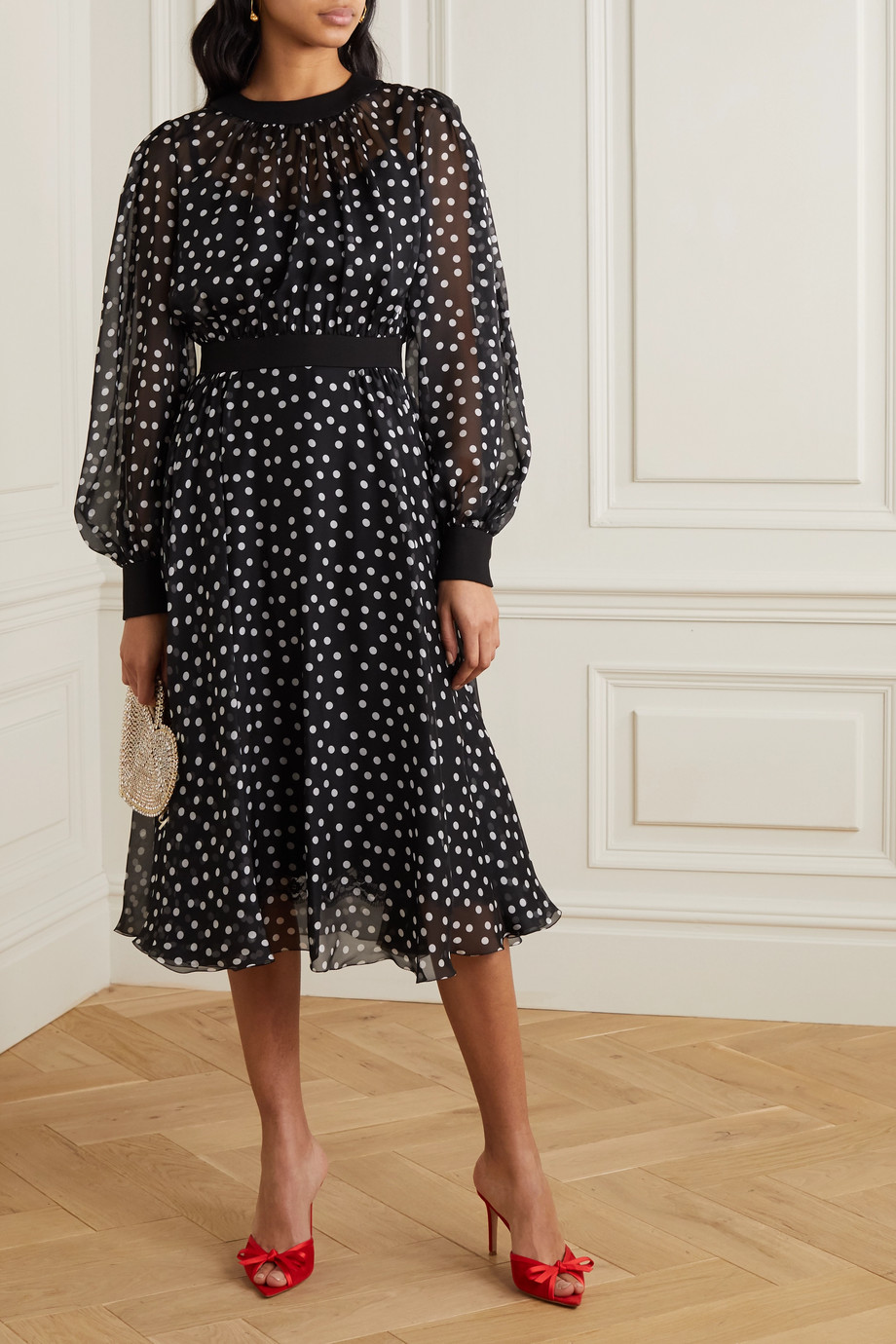 Dolce & Gabbana Polka-dot silk-blend chiffon midi dress