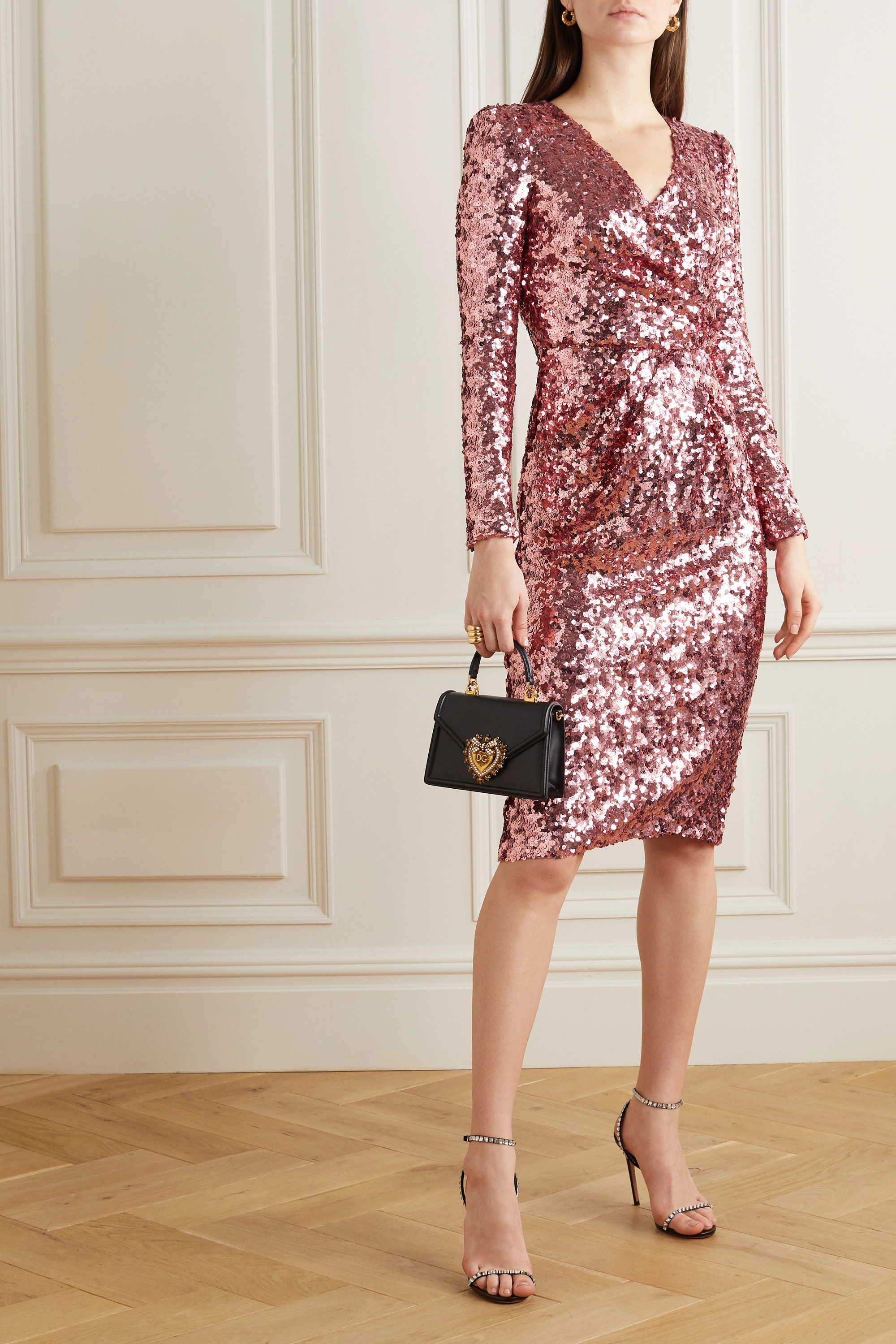 Dolce & Gabbana Wrap-effect sequined tulle midi dress